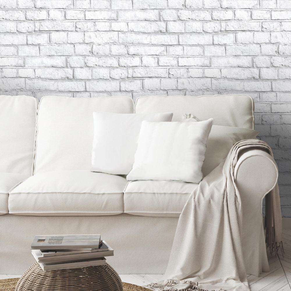 Roommates 28 18 Sq Ft White Brick Peel And Stick Wallpaper