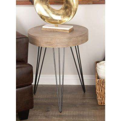 Modern Metal and Wood Accent Table in Brown and Black