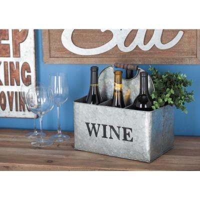 12 in. x 12 in. 6-Bottle Metallic Gray and Brown Wine Holder