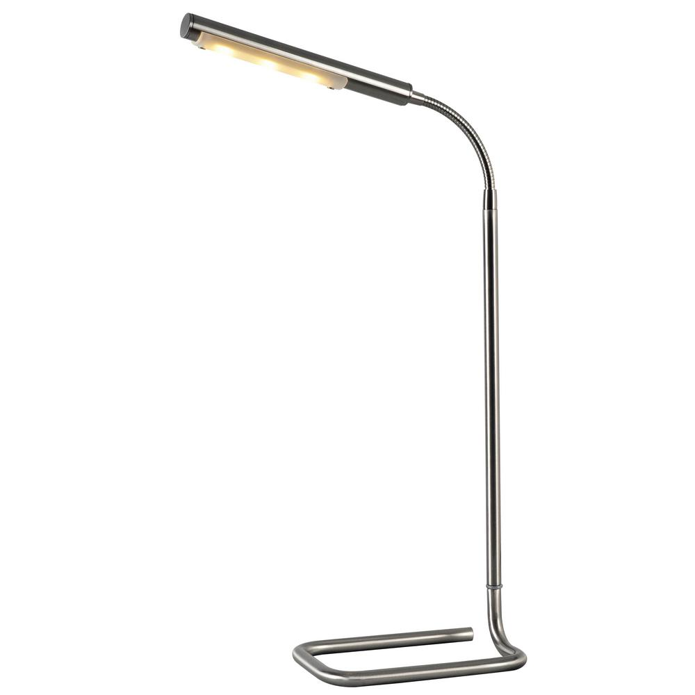 Slither 22 in. Brushed Steel Desk Lamp with Metal Shade