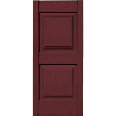 15 in. x 35 in. Raised Panel Vinyl Exterior Shutters Pair in #078 Wineberry