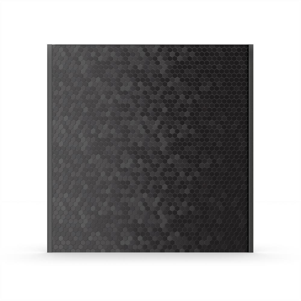 Hexagonia SB Black 29.61 in. x 30.47 in. x 5 mm Metal Self-Adhesive Wall Range Backsplash Tile (11.4 sq. ft./ case)