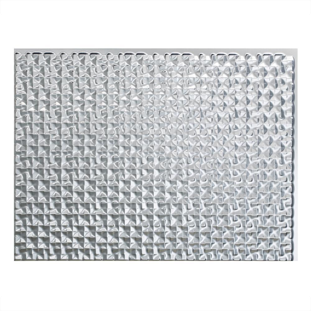 Terrain 18 in. x 24 in. Brushed Aluminum Vinyl Decorative Wall Tile Backsplash 18 sq. ft. Kit