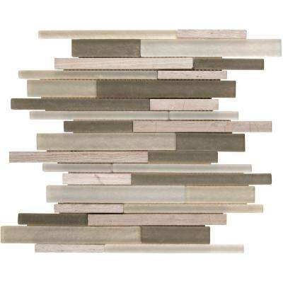 Truffle Stone Interlocking 12 in. x 12 in. x 8 mm Glass and Stone Mesh-Mounted Mosaic Tile