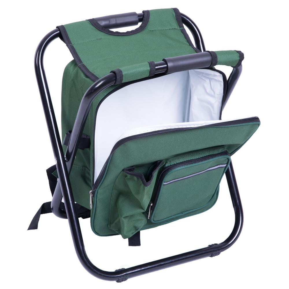 Playberg Folding 3 In 1 Stool Backpack Cooler Bag Green