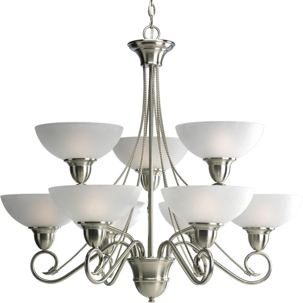 Progress Lighting Pavilion Collection 9-Light Brushed Nickel Chandelier with Shade with Etched Watermark Glass Shade