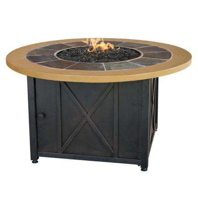 43 in. W Round Slate Tile and Faux Wood Mantle LP Gas Fire Pit with Electronic Ignition and Bronze Fire Glass
