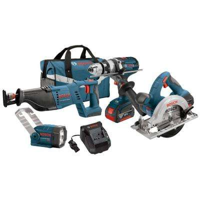 18-Volt Lithium-Ion Cordless Drill/Driver, Reciprocating Saw, Circular Saw and Flashlight Power Tool Combo Kit (4-Tool)