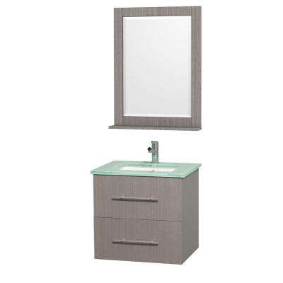 Centra 24 in. Vanity in Grey Oak with Glass Vanity Top and Mirror in Aqua and Square Porcelain Undermounted Sink