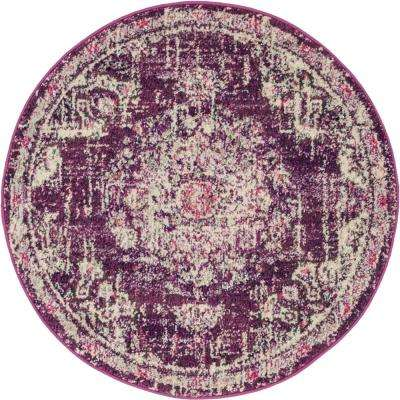 3 Round Purple Area Rugs Rugs The Home Depot