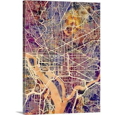 "18 in. x 24 in. ""Washington DC Street Map"" by  Michael Tompsett Canvas Wall Art"