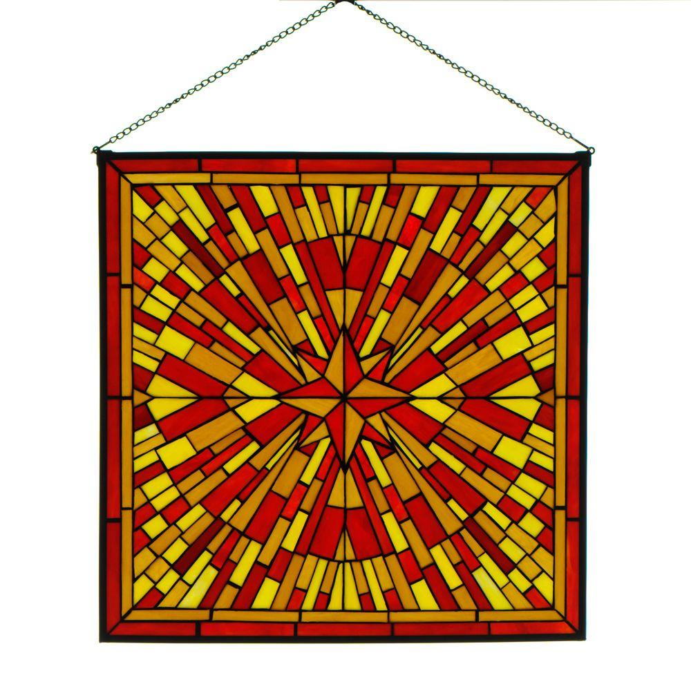 Home Decorators Collection Square Starburst Red Multi Art Glass