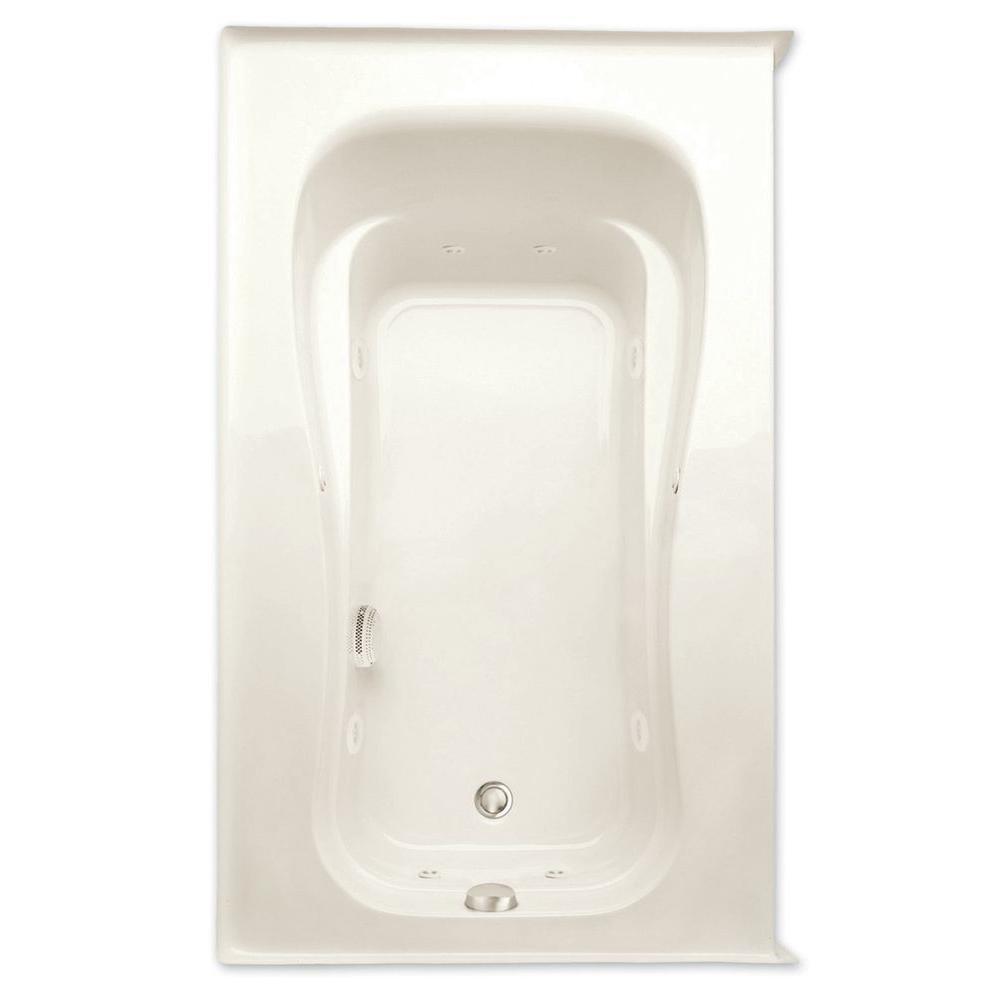 Aquatic Novelli Q 5 ft. Right Drain Acrylic Whirlpool Bath Tub in Biscuit