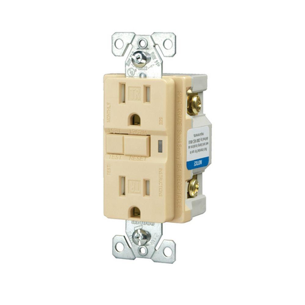 Eaton Specification Grade 15 Amp 125-Volt Duplex GFCI, Ivory
