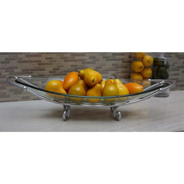 Litton Lane 6 in. x 30 in. Glass Bowl with Curled