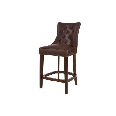 Bardell Upholstered Tufted Counter Stool with Brown Faux Leather Seat and Nailheads (20 in. W x 41.93 in. H)