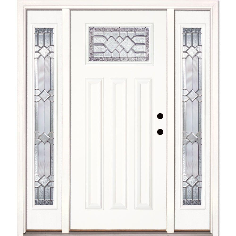 Feather River Doors 63.5 in.x81.625 in. Mission Pointe Zinc Craftsman Unfinished Smooth Left-Hand Fiberglass Prehung Front Door w/ Sidelites
