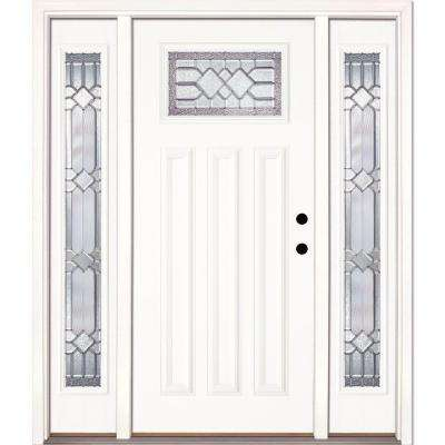 63.5 in.x81.625 in. Mission Pointe Zinc Craftsman Unfinished Smooth Left-Hand Fiberglass Prehung Front Door w/ Sidelites