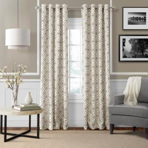 Semi-Opaque Crackle Linen Grommet Top Single Curtain Panel - 52 inch W x 95 inch L by