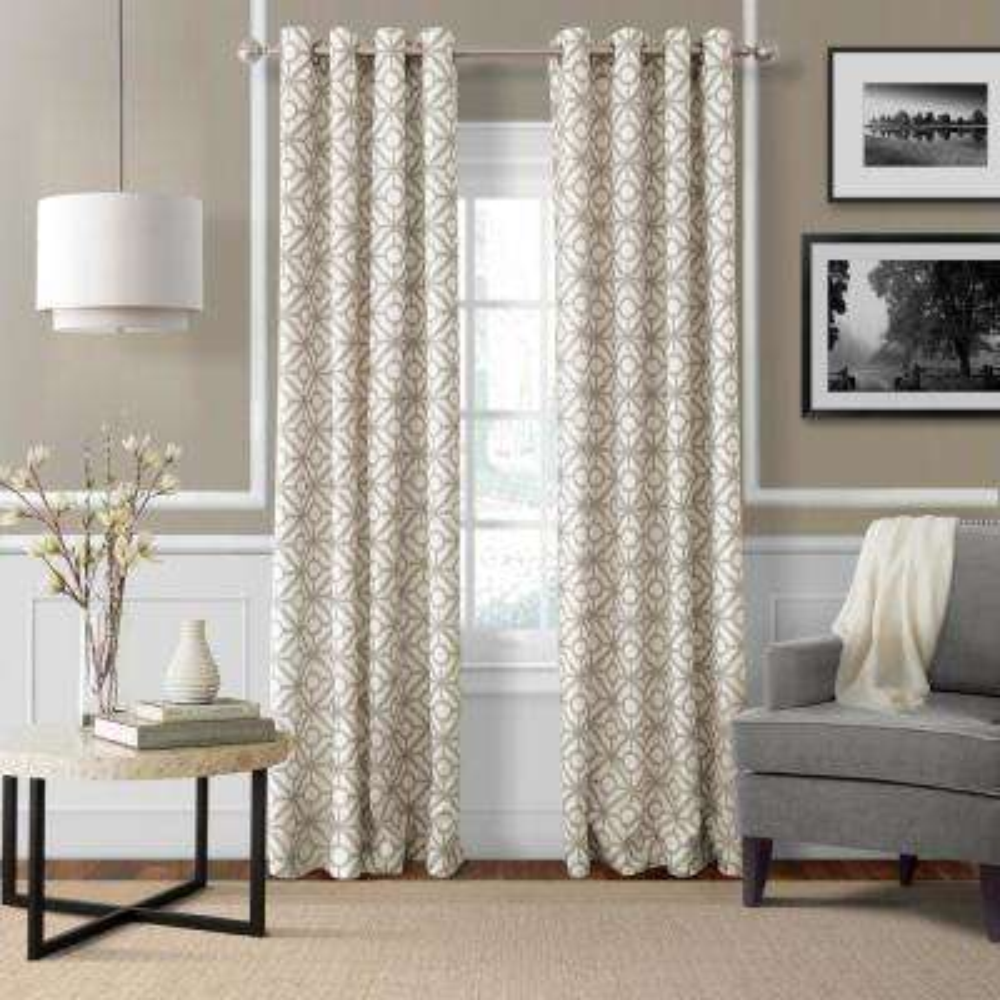 Crackle 52 in. W x 84 in. L Grommet Top Single Curtain Panel in Linen