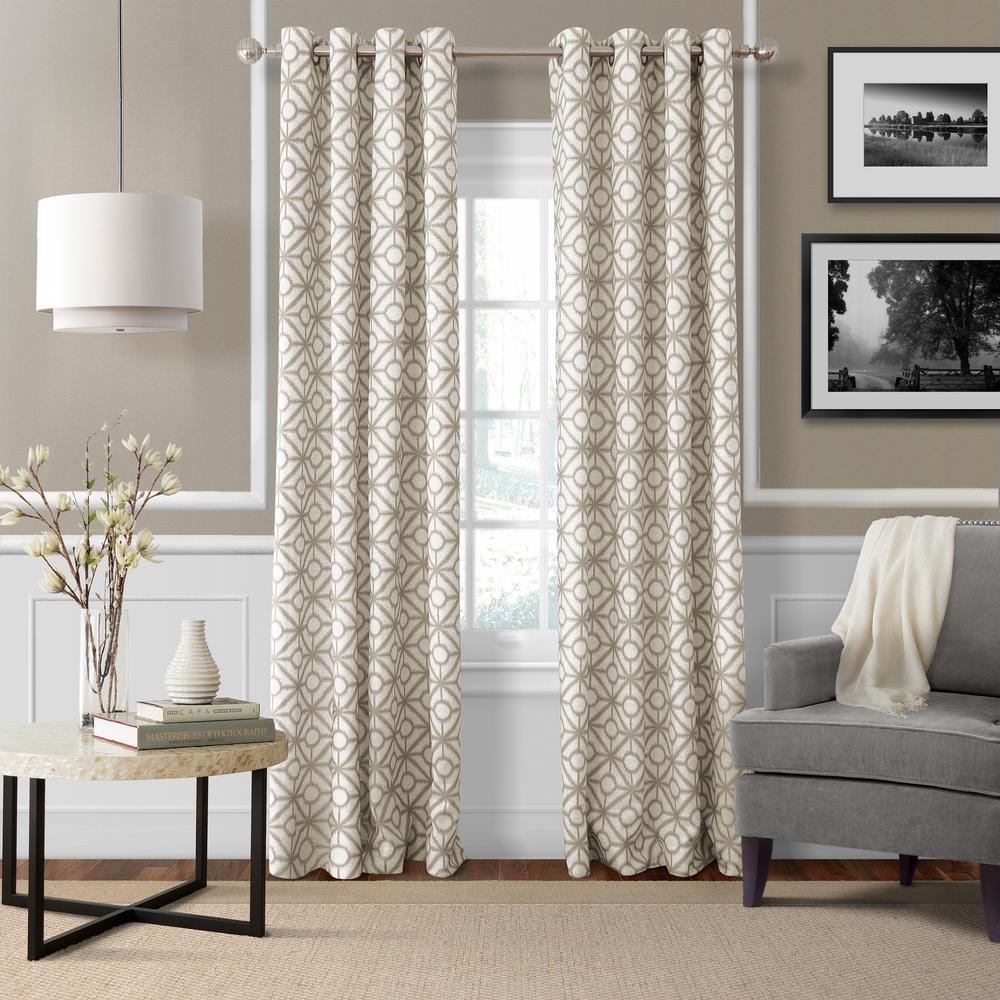 Crackle 52 in. W x 95 in. L Grommet Top Single Curtain Panel in Linen
