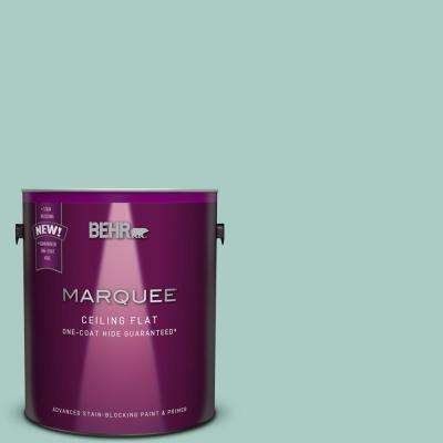 1 gal. #M440-3 Tinted to Baby Aqua One-Coat Hide Flat Interior Ceiling Paint and Primer in One