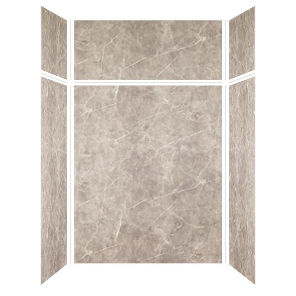 Transolid Expressions 36 in. x 60 in. x 96 in. 4-Piece Easy Up Adhesive Alcove Shower Wall Surround in Dover Stone