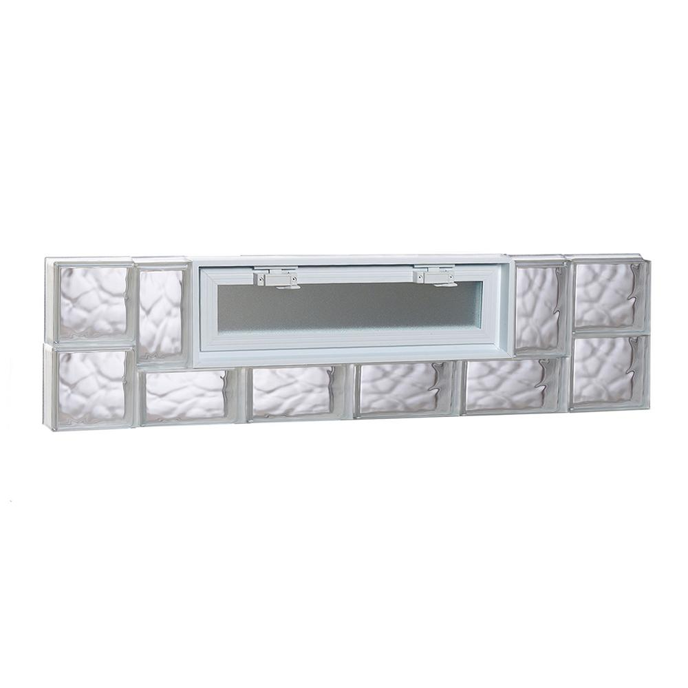 Clearly Secure 42 5 in  x 11 5 in  x 3 125 in  Frameless Wave Pattern  Vented Glass Block Window