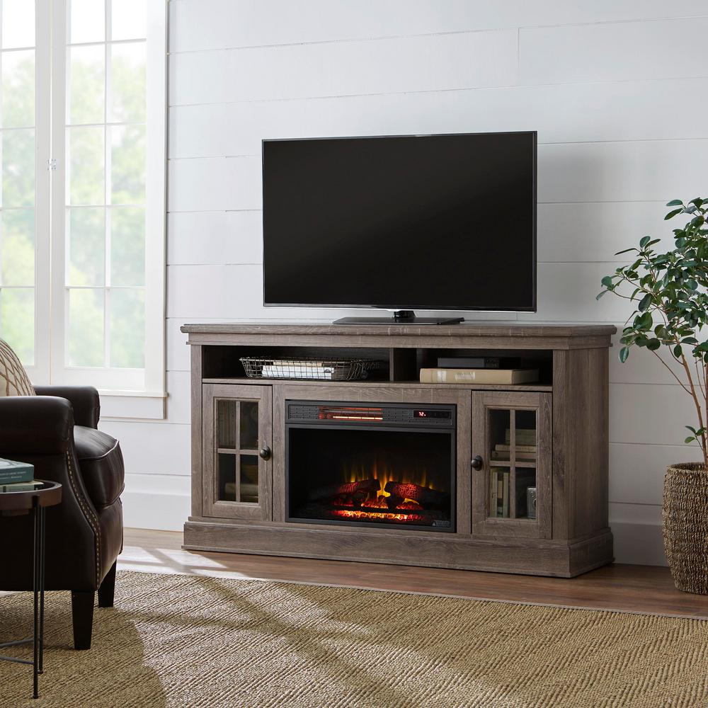 Home Decorators Collection Highview 59 In Freestanding Media Console Electric Fireplace Tv Stand In Embossing Oak 118137 The Home Depot