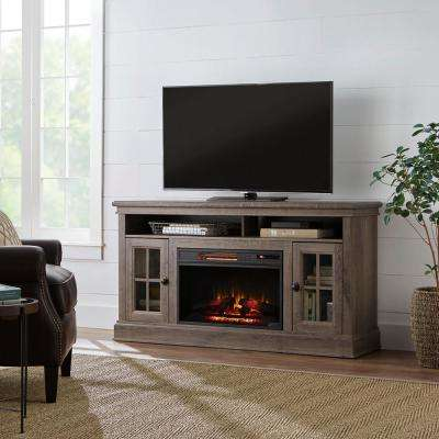 Highview 59 in. Freestanding Media Console Electric Fireplace TV Stand in Embossing Oak