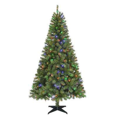 6.5 ft. Pre-Lit LED Greenville Spruce Artificial Christmas Tree with Multi Lights