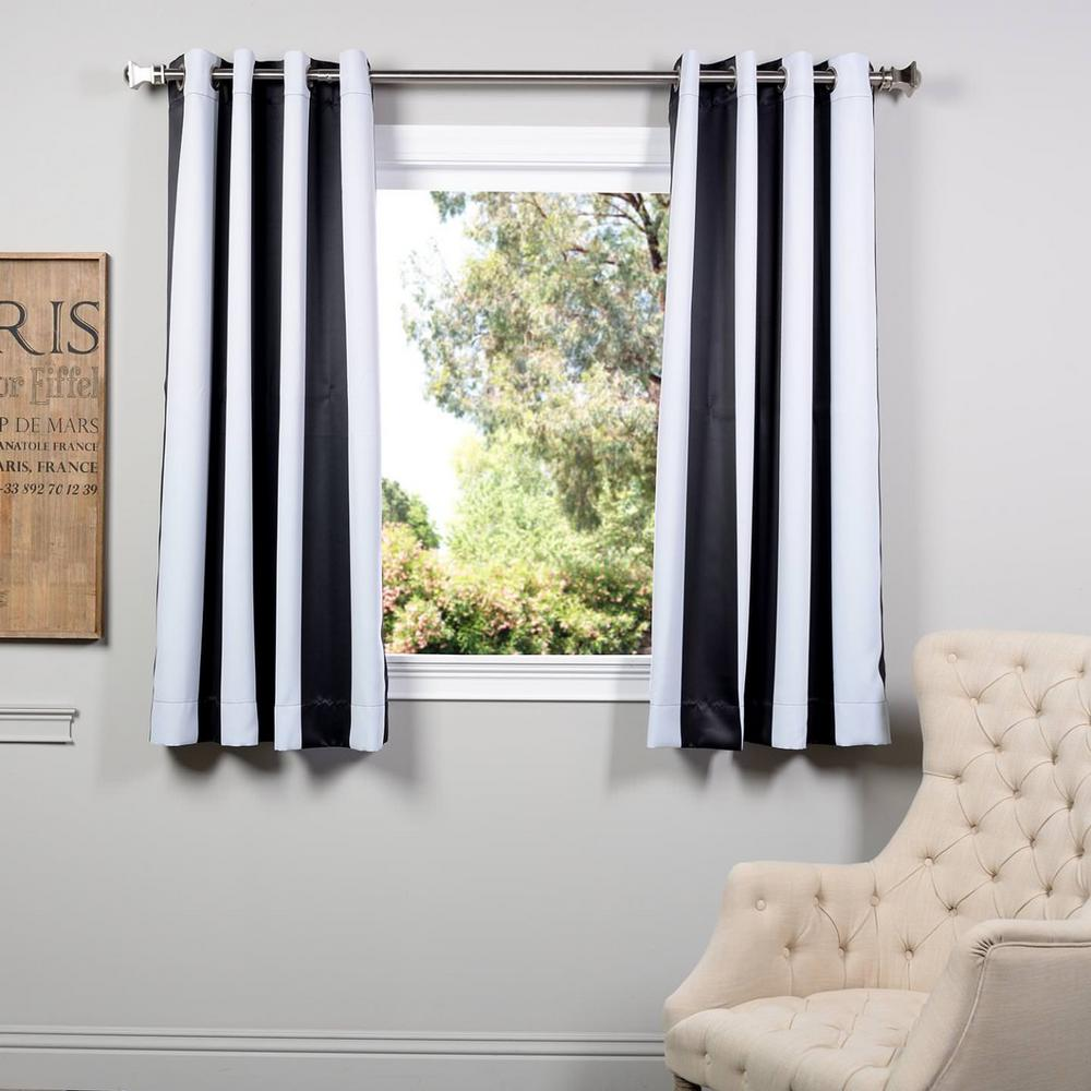 Exclusive Fabrics & Furnishings Semi-Opaque Awning Black and White Stripe - 50 in. W x 63 in. L (Panel)