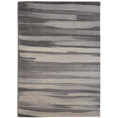 Brush Stroke Contemporary Modern Grey 7 ft. 6 in. x 9 ft. 6 in. Area Rug