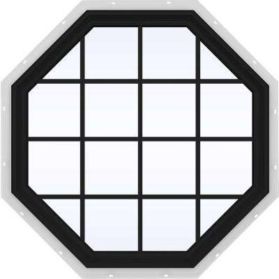 48 in. x 48 in. V-2500 Series Bronze FiniShield Vinyl Fixed Octagon Geometric Window with Colonial Grids/Grilles
