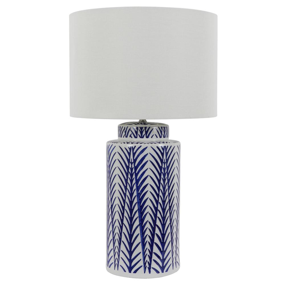 Decor Therapy 27 In Ceramic Indoor Led Blue And White Table Lamp