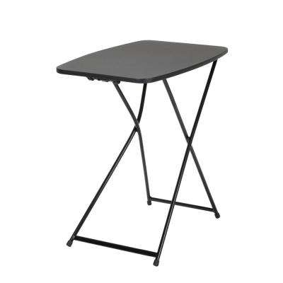 18 in. Black Plastic Adjustable Height Folding Utility Table (Set of 2)