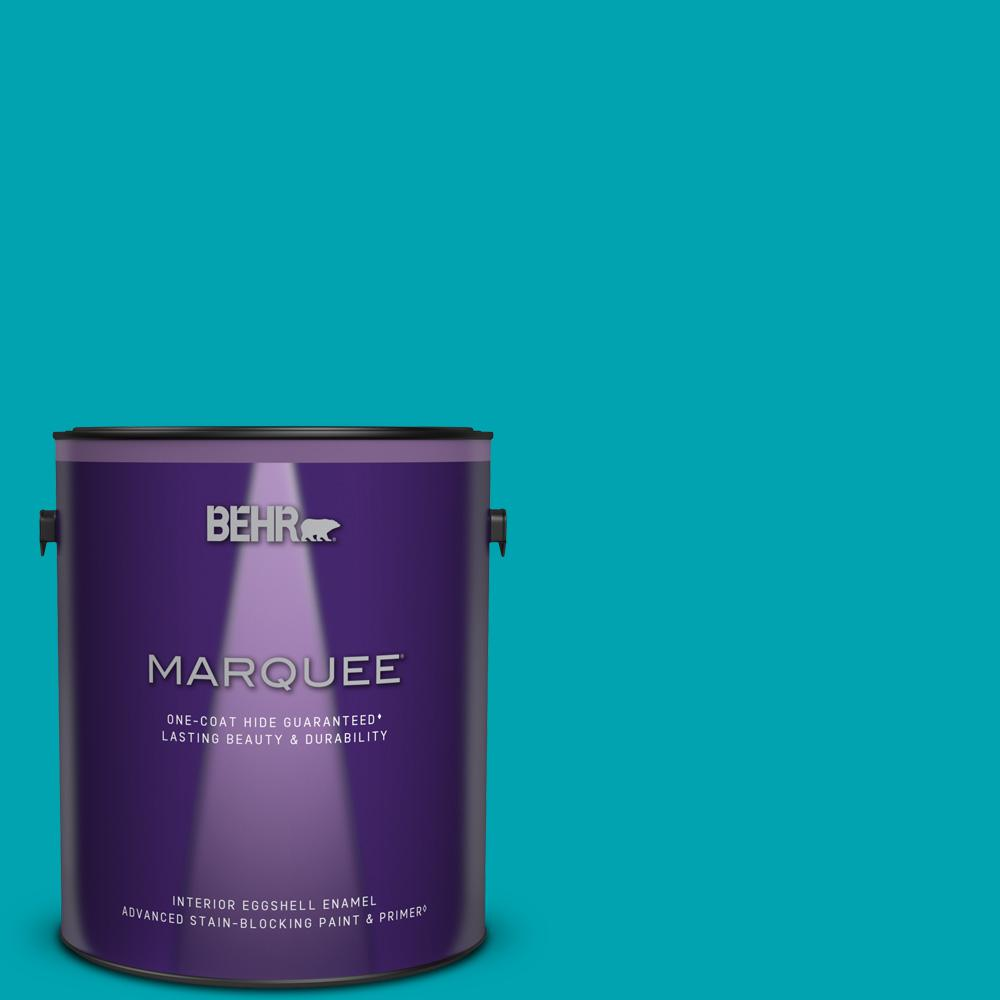 Behr Marquee 1 Gal 510b 6 Blue Jewel Eggshell Enamel Interior Paint And Primer In One 245301 The Home Depot