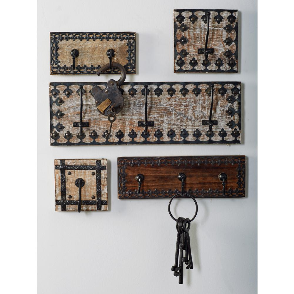 Brown Wood and Iron Wall Hook Racks with Black Strips and