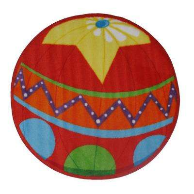 Fun Time Shape Stop Sign Red and White 3 ft. Round Area Rug