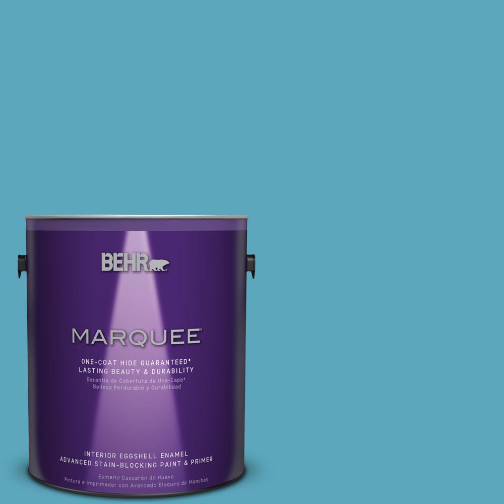 1 gal. #T15-11 Sonic Blue Eggshell Enamel Interior Paint
