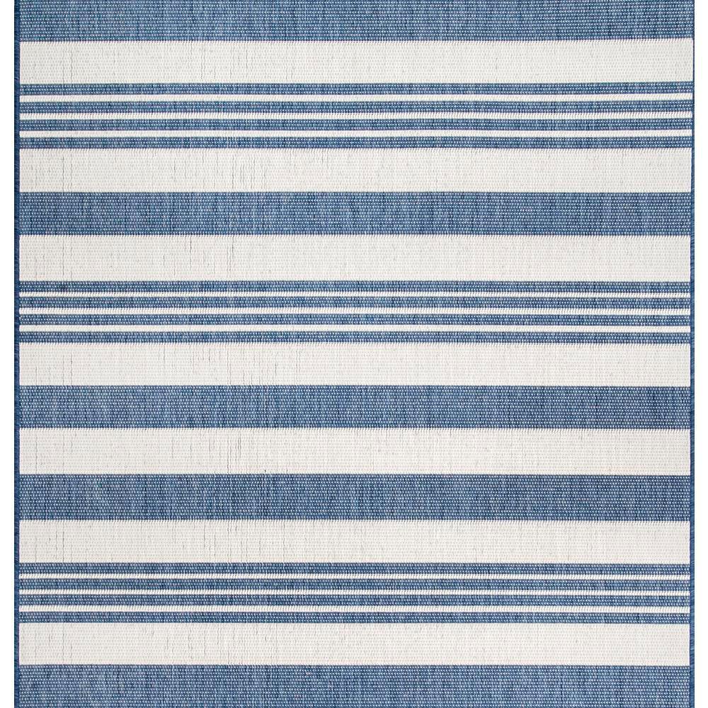 Robin Striped Coastal Blue 8 ft. x 8 ft. Indoor/Outdoor Square Rug