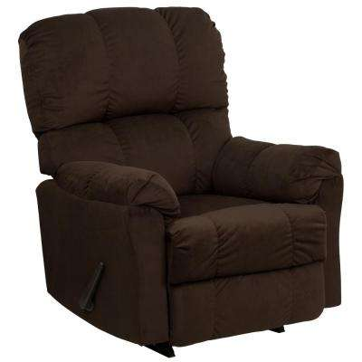 Contemporary Top Hat Chocolate Microfiber Rocker Recliner