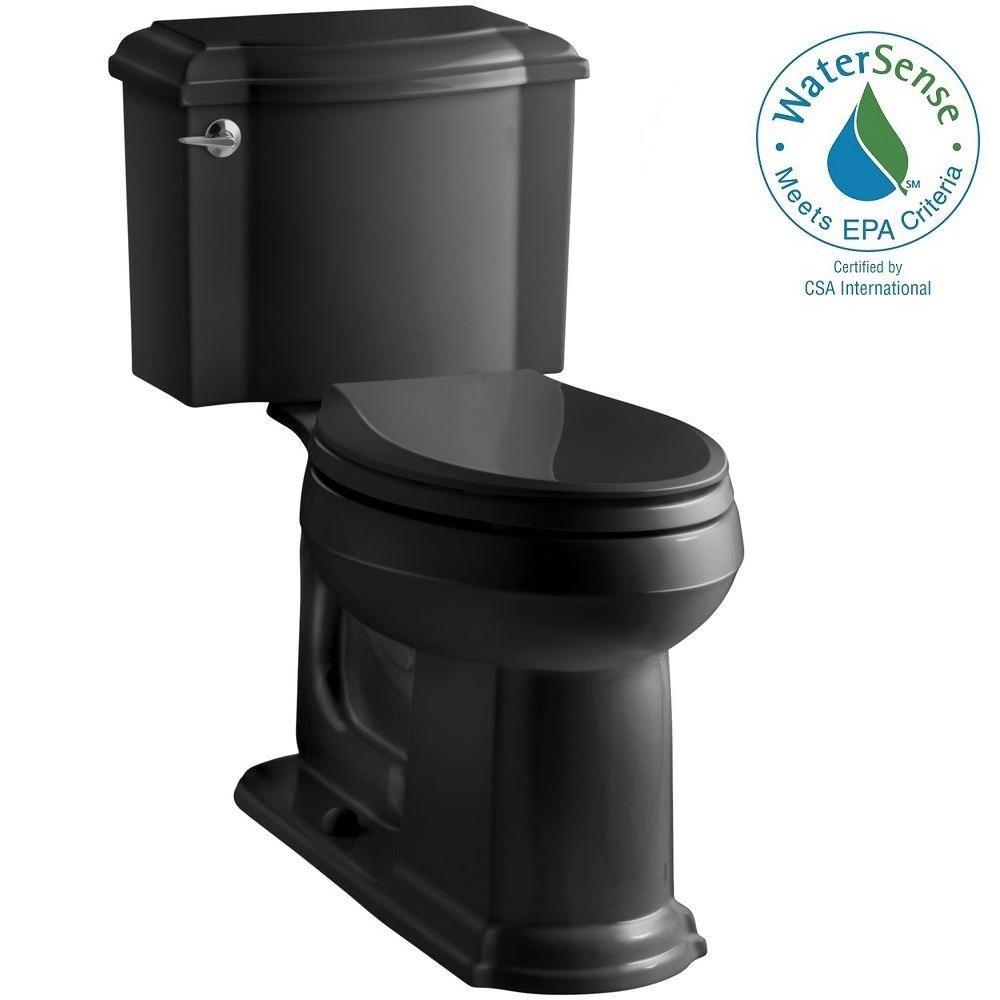 Devonshire 2-piece 1.28 GPF Elongated Toilet with AquaPiston Flush Technology in Black Black