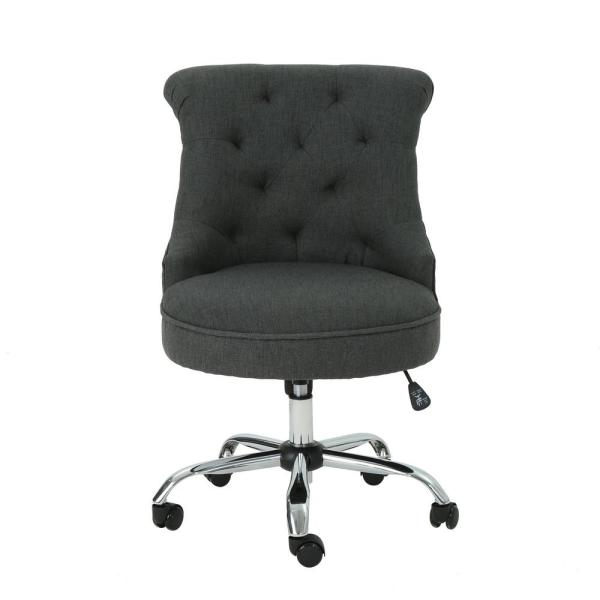Noble House Americo Tufted Back Slate Microfiber Home Office Desk Chair 40964 The Home Depot