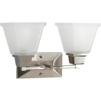 North Park 2-Light Brushed Nickel Bathroom Vanity Light with Glass Shades