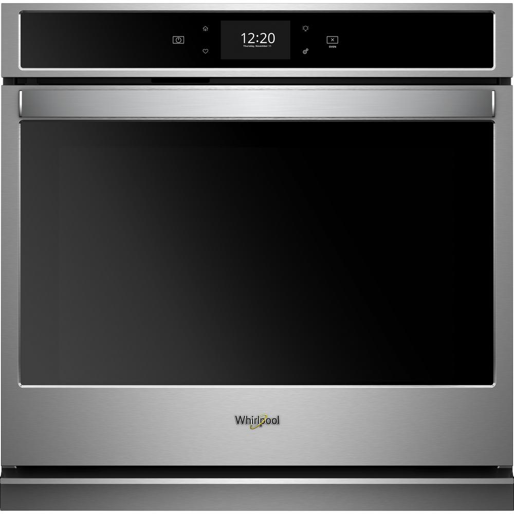 Whirlpool 30 in. Smart Single Electric Wall Oven with True Convection Cooking in Black on Stainless Steel
