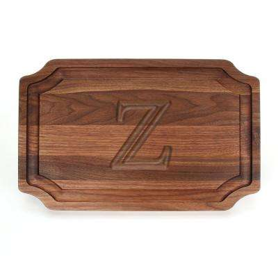 Selwood 1-Piece Walnut Cutting Board with Carved Z