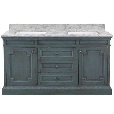 Cailla 61 in. W x 22 in. D Bath Vanity in Distressed Blue Fog with Marble Vanity Top in Carrara with White Sinks
