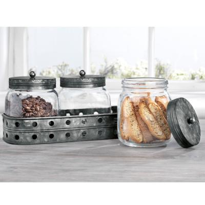 Glass Canisters With Galvanized Tray (Set of 3)