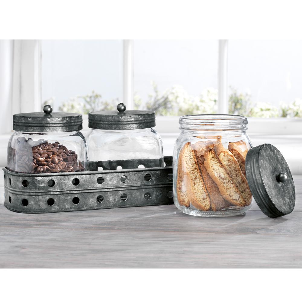 Gl Canisters With Galvanized Tray (Set of 3) on clear stools for kitchen, spray paint a tray for kitchen, acrylic canister sets kitchen, clear canisters with lids, canister sets for kitchen, clear plastic kitchen canisters, clear canisters in food,